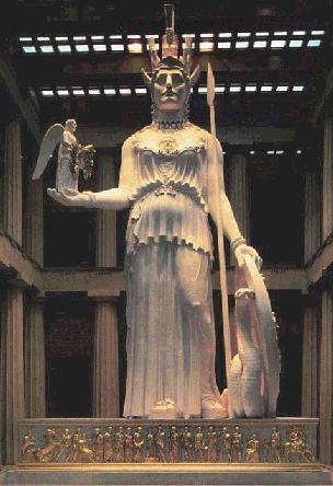 パルテノン神殿のアテナ神像とヴィクトリー