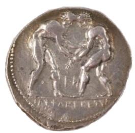 レスリングが描かれたギリシャコイン