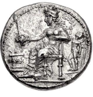 コイン裏面に描かれるアフロディテ 後ろはエロース